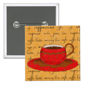 Red Coffee Cup Art on Gold Script Words Button
