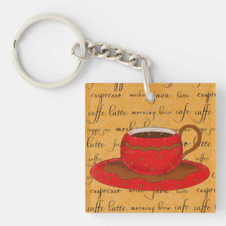 Red Coffee Cup Art on Gold Script Words Keychain