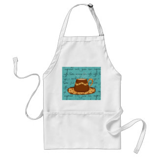 Red Coffee Cup Art on  Turquoise Script Words Apron