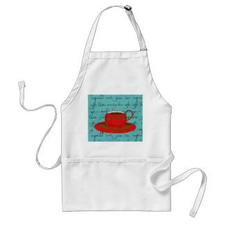 Red Coffee Cup Art on  Turquoise Script Words Aprons