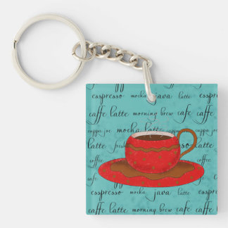 Red Coffee Cup Art on  Turquoise Script Words Keychain
