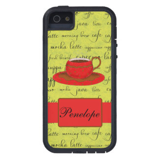Red Coffee Cup Green Script Word Background Name Case For iPhone SE/5/5s