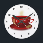 """Red Coffee Cup Kitchen Clock<br><div class=""""desc"""">This red coffee cup clock looks great on any kitchen wall.</div>"""