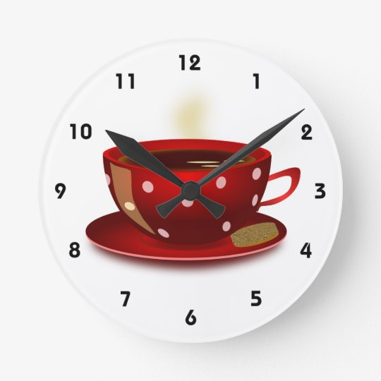 Red Coffee Cup Kitchen Clock