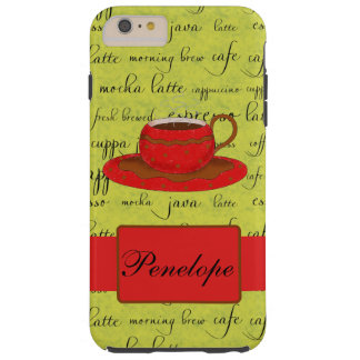 Red Coffee Cup Lime Green Script Words Name Tough iPhone 6 Plus Case