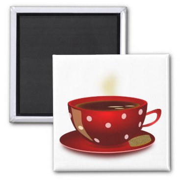 Coffee Themed Red Coffee Cup Magnet