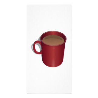 Red Coffee Cup Customized Photo Card