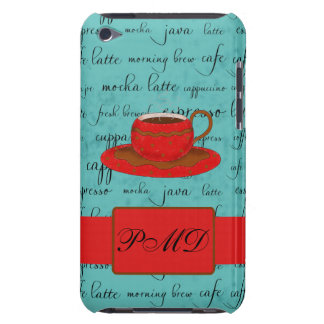 Red Coffee Cup Turquoise Script Custom Name Barely There iPod Case