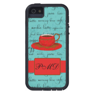 Red Coffee Cup Turquoise Script Custom Name Case For iPhone SE/5/5s