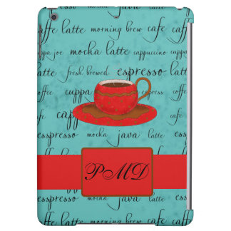 Red Coffee Cup Turquoise Script Custom Name Cover For iPad Air
