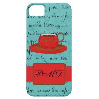 Red Coffee Cup Turquoise Script Custom Name iPhone SE/5/5s Case