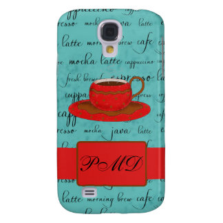 Red Coffee Cup Turquoise Script Custom Name Samsung S4 Case