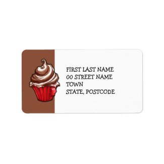 Red Coffee Cupcake coffee Address Label label