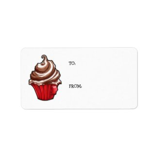 Red Coffee Cupcake Gift Tag label