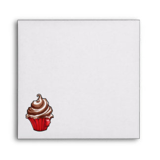 Red Coffee Cupcake Invitation Envelope