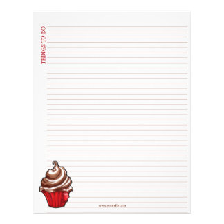 Red Coffee Cupcake Lined List Letterhead