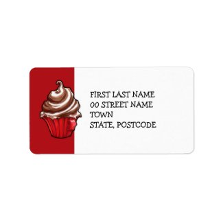 Red Coffee Cupcake red Address Label label