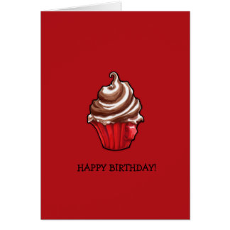 Red Coffee Cupcake red Birthday Card