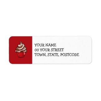Red Coffee Cupcake red Return Address Label label