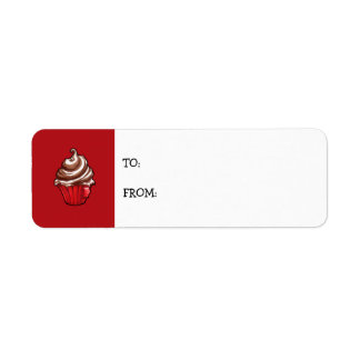 Red Coffee Cupcake red small Gift Tag