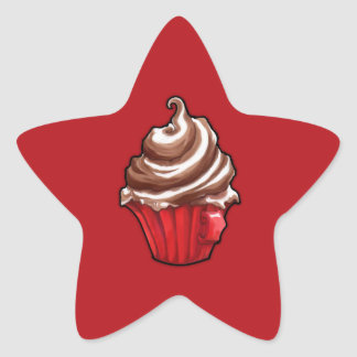 Red Coffee Cupcake red Star Sticker