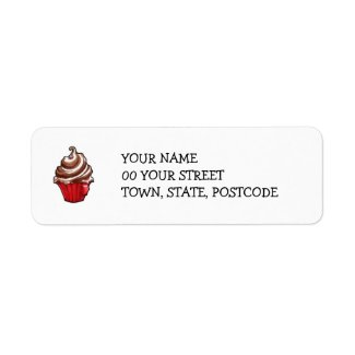Red Coffee Cupcake Return Address Label label