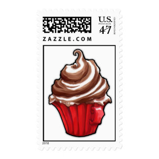 Red Coffee Cupcake Stamp
