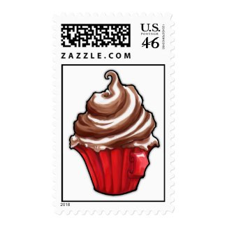 Red Coffee Cupcake Stamp stamp