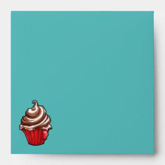 Red Coffee Cupcake teal Invitation Envelope