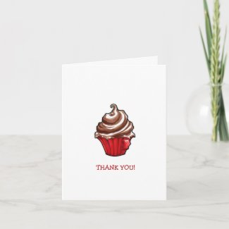Red Coffee Cupcake Thank You Note Card card