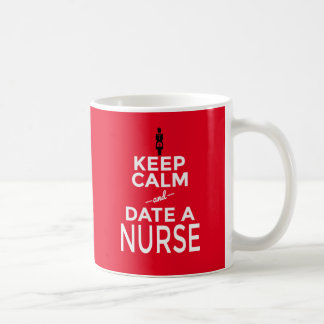 Red Coffee Mug Gift Keep Calm Date a Nurse