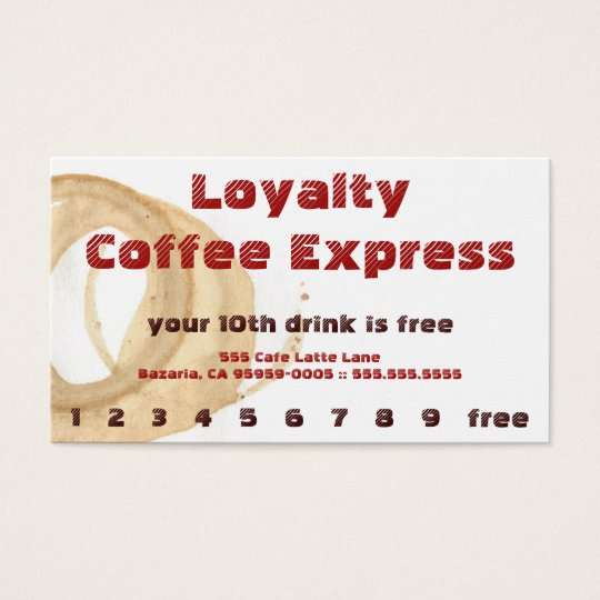 Red Coffee Stain Drink Loyalty Punchcard Business Card