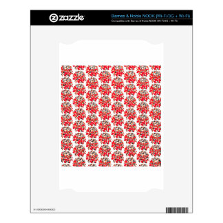 Red Collage Dahlia Flower Pattern Skin For NOOK