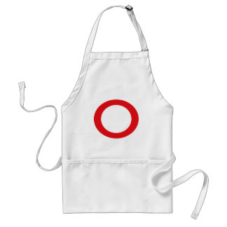 Red Color Circle Simple Customizable Design Adult Apron