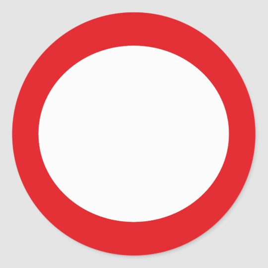 Red Color Circle Simple Customizable Design Classic Round Sticker