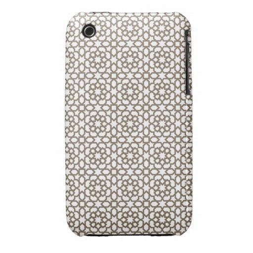 Red color oro de mosaico de geometría marroquí en iPhone 3 Case-Mate cobertura