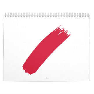 Red color painter calendar