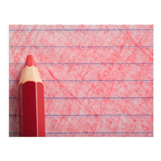 Red color pencil with coloring flyer
