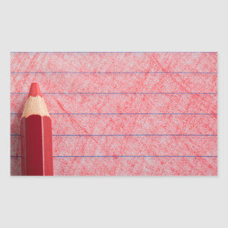 Red color pencil with coloring rectangular sticker