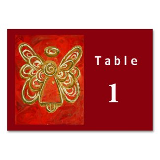 Red Color Series Angel Custom Table Cards