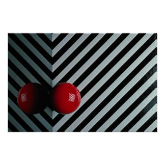Red color Snooker ball Poster