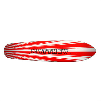 Red Color Stripe Funky Pattern Skateboard