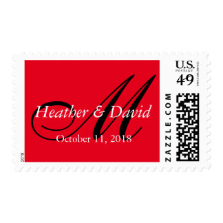 Red Color Stylish Cute Monogram Wedding Postage
