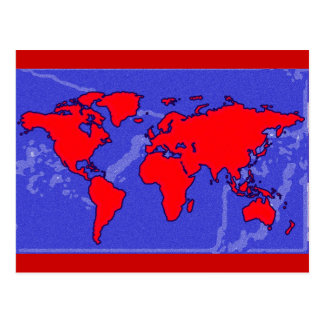 red color world map postcard