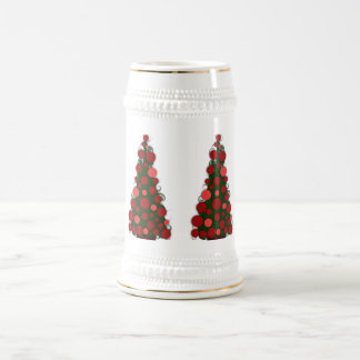 Red Colored Christmas Tree Stein