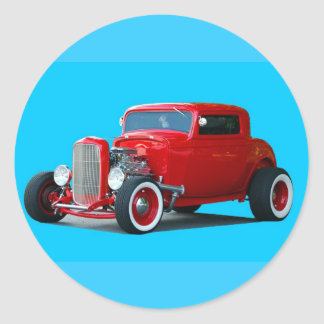 red colored hot rod car round sticker