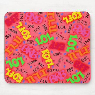 Red Colorful Electronic Texting Art Abbreviation Mouse Pad