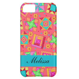 Red Colorful Patchwork Quilt Blocks Custom Cover For iPhone 5C