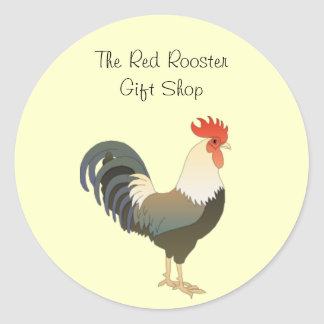 Red Comb Rooster Farm Animal Custom Business Name Classic Round Sticker