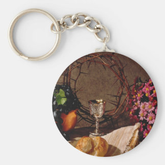 Red Communion, silver cup, grapes, flowers and cro Keychains